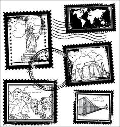 world landmarks stamps vector image