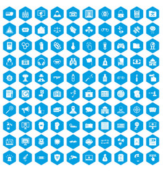 100 hacking icons set blue vector image