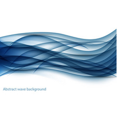 Abstract blue wave set on white background vector