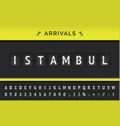 Airport flip board font arrival istambul vector