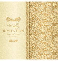 Baroque wedding invitation gold vector image