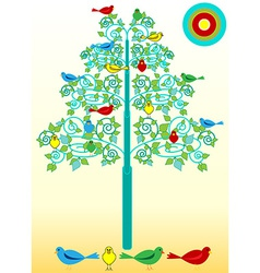 Birds on a flourishes tree vector image