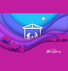 birth of christ baby jesus in the manger holy vector image