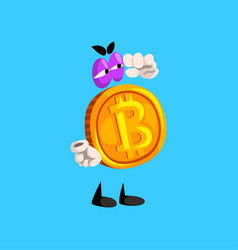 Bitcoin character funny crypto currency emoticon vector