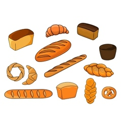Breads and pastry in cartoon style vector image