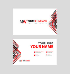 Business card template in black and red with a vector