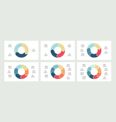 Business infographics circles with 3 - 8 parts vector