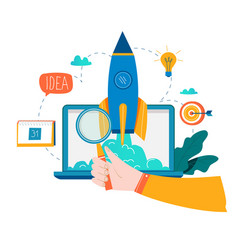 business project startup process startup idea lau vector image