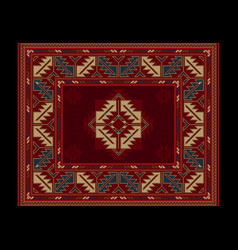 Carpet with vintage ornament in red shades vector