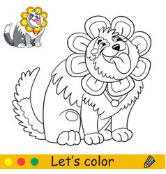 cartoon cute dog in a flower costume coloring vector image