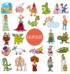 Cartoon fantasy and fairy tale characters large vector