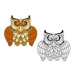 Cartoon funny brown owl bird vector image