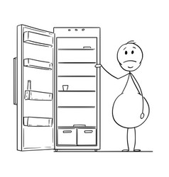 Cartoon of hungry obese or fat man and empty vector