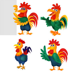 cartoon rooster collection set vector image