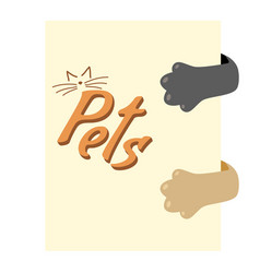 cat hiding behind a poster brown paws and gray vector image