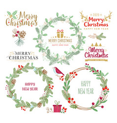 christmas wreaths silhouettes vector image