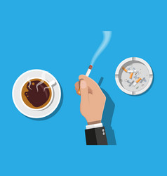 Coffee cup and ashtray full of smokes cigarettes vector
