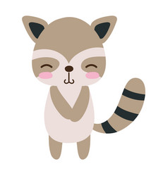 Colorful cute and shy raccoon wild animal vector