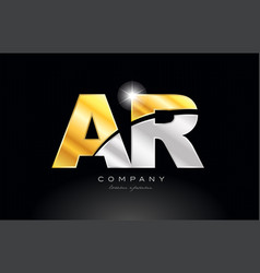 Combination letter ar a r alphabet with gold vector