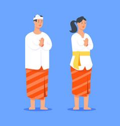 couples bali hindu people give greeting vector image