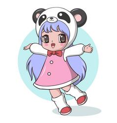Cute little girl dressed as a panda vector