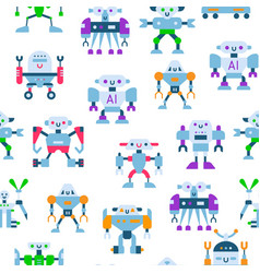 cute toy robots with antennas and wires seamless vector image