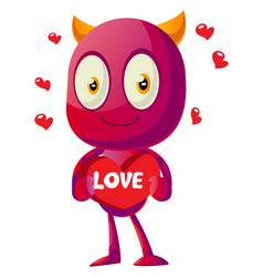 devil in love with big heart on white background vector image