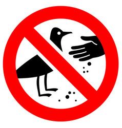 Do not feed birds forbidden sign modern round vector