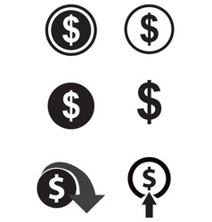 dollar icons set vector image