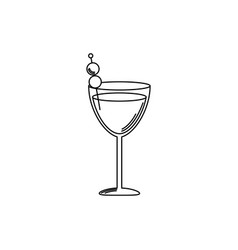 Drinks glass cocktail with olives in stick line vector