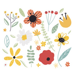 early spring forest and garden flowerset vector image