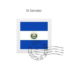 El Salvador Flag Postage Stamp vector