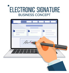 Electronic signature laptop financial vector