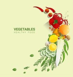 Flat lay fresh vegetables on green background vector