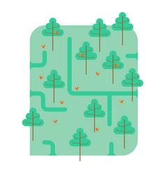 forest map park ornament trees and squirrels vector image