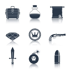 Game resources icons black vector