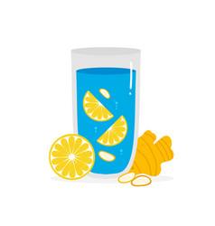 Ginger lemon water for digestive health and detox vector