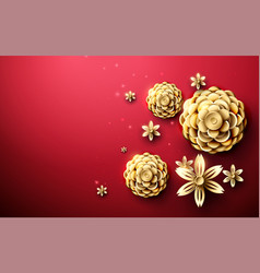 Gold abstract flowers asian pattern background vector