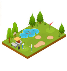 golf composition concept 3d isometric view vector image