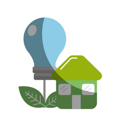 green house with save bulb plant with leaves vector image