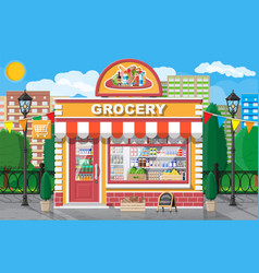 grocery store front with window and door vector image
