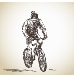 Hand drawn cyclist vector