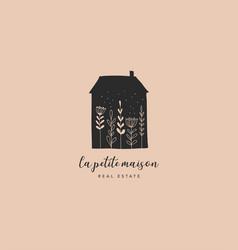 Hand drawn home house with garden logo icon vector