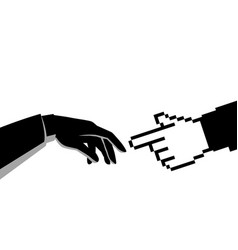 human hand touching pixelated hand vector image
