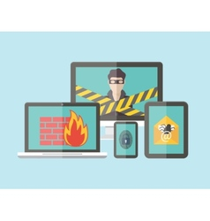 Internet security hacker virus protection and vector image