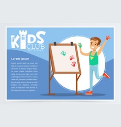 Kids club blue poster with cheerful boy painting vector