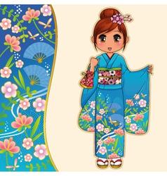 Kimono girl vector