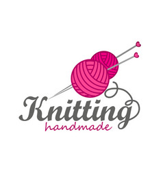 Knitting logo elements vector