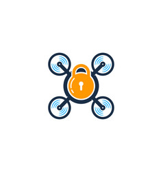 lock drone logo icon design vector image