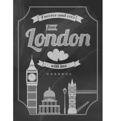 Love London chalkboard retro poster vector image